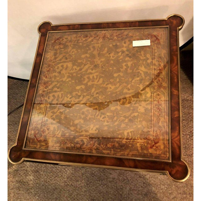 Hollywood Regency Bronze Decorated End Table X-Base Sides Tortoise Glass Top - Image 3 of 11