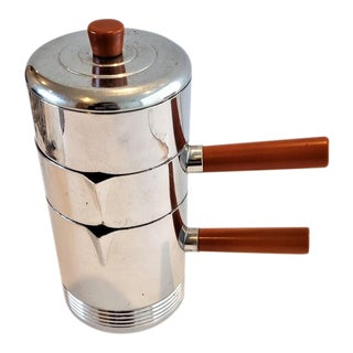 Chase Chrome & Bakelite Individual Stacking Coffee Set Designed by Russell Wright For Sale