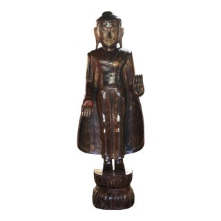 Burmese Wooden Standing Buddha For Sale