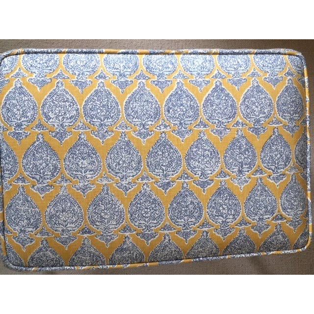 Vintage Petite Raoul Textile Fabric Upholstered Chrome Bench For Sale - Image 4 of 6