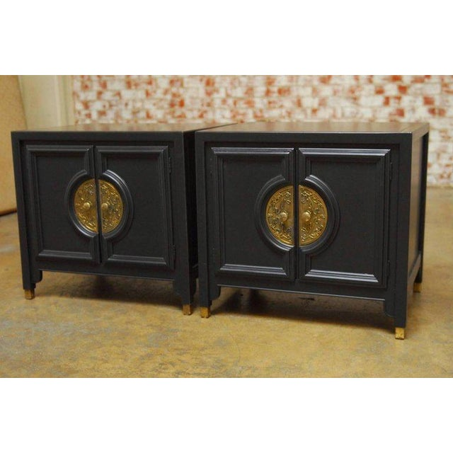 Mid-Century Modern James Mont Style Century Furniture Lacquer Nightstands - a Pair For Sale - Image 3 of 10