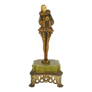 Pierrette Harlequin Art Deco Bronze Figurine For Sale