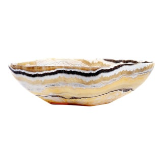 Brown, Yellow & White Onyx Bowl For Sale