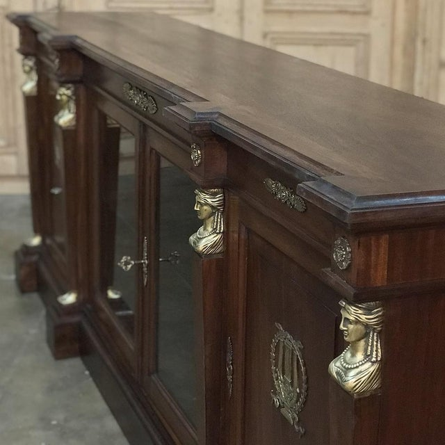 19th Century French Empire Mahogany Credenza With Bronze Ormolu For Sale In Dallas - Image 6 of 12
