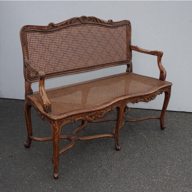 French Vintage Martin of London French Country Brown Ornately Carved Cane Settee For Sale - Image 3 of 13