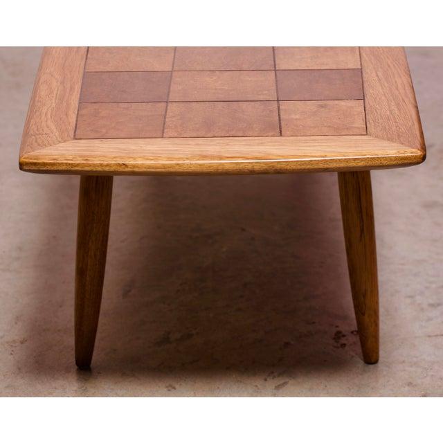 1950s Art Deco Tomlinson Burlwood & Oak Coffee Table For Sale - Image 9 of 12