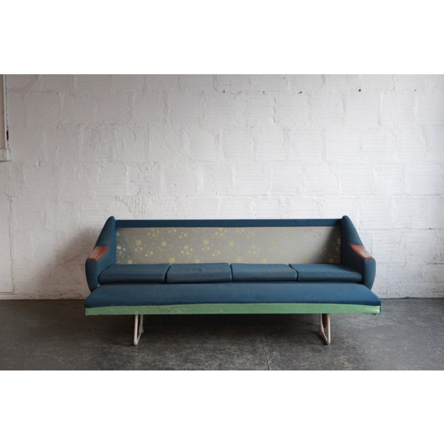 This sofa has a great teak and dusty blue upholstered frame. With clean lines, it is a dreamy piece with the best...