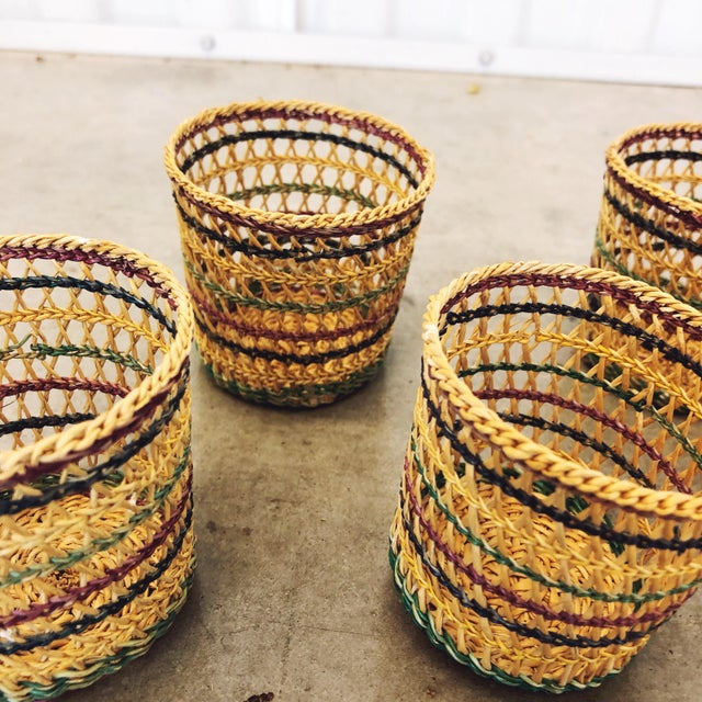 1970s 1970s Basketweave Cups / Plant Holders For Sale - Image 5 of 7