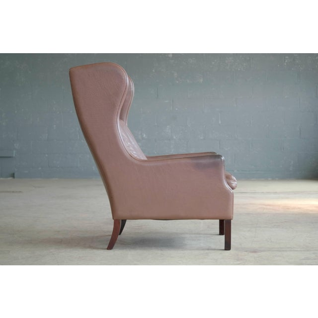 Børge Mogensen Georg Thams Wingback Chair in Cappuccino Colored Leather Borge Mogensen Style For Sale - Image 4 of 9