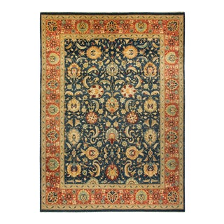 """Mogul, One-Of-A-Kind Hand-Knotted Area Rug - Blue, 10' 2"""" X 13' 10"""" For Sale"""
