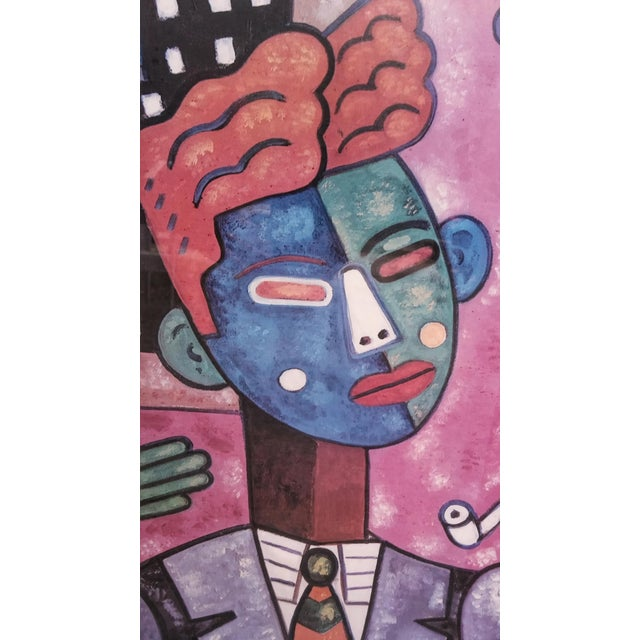 "An original 24"" x 36"" framed pop art poster advertising the Chicago Blues Festival of 1989 by artist Bob Novak. Frame is..."