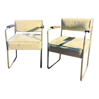 1930s Streamline Moderne Tubular Nickel Plated Armchairs - A Pair For Sale