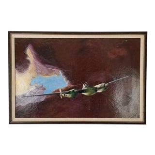 Vintage Billman Surrealist Abstract Painting For Sale