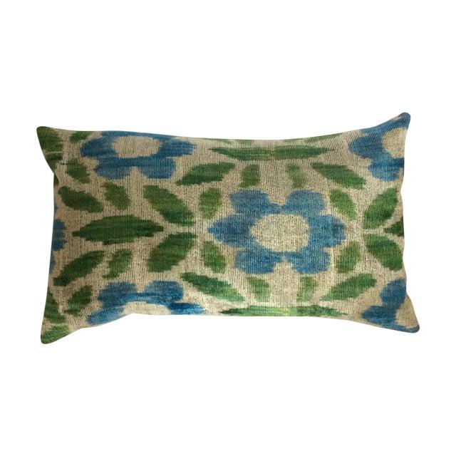 Green & Blue Silk & Velvet Turkish Ikat Pillow - Image 1 of 5