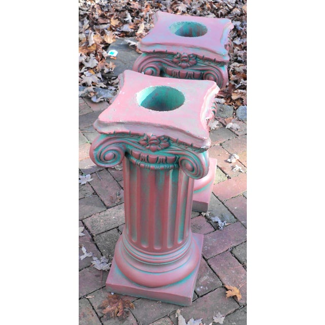 Neoclassical Antique Painted Concrete Corinthian Columns - A Pair For Sale - Image 3 of 10