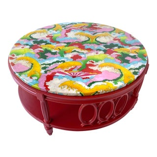 Red Round Coffee Table With Resin Stone Top For Sale