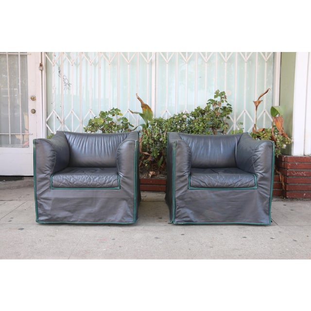 1980s Vintage Italian Leather Lounge Chairs- A Pair For Sale - Image 13 of 13