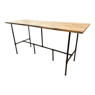 Modern Custom Chilton 84' Live Wood Table With Black Steel Legs For Sale