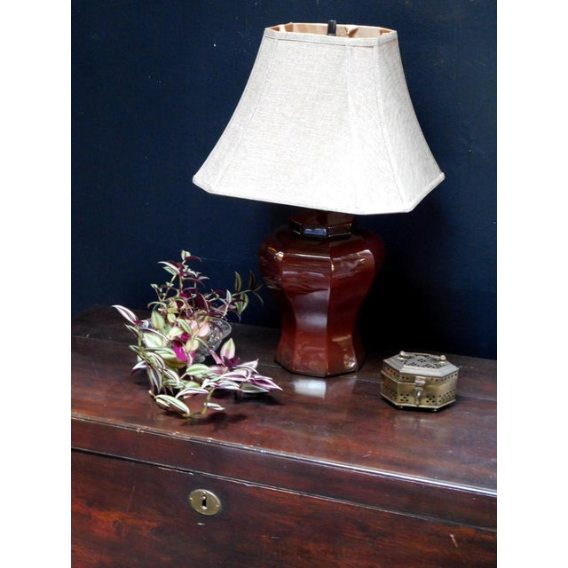 Mid-Century Deep Umber Lamp For Sale - Image 4 of 9