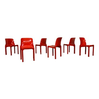 Vico Magistretti for Artemide Selene Red Stacking Chairs - Set of 6 For Sale