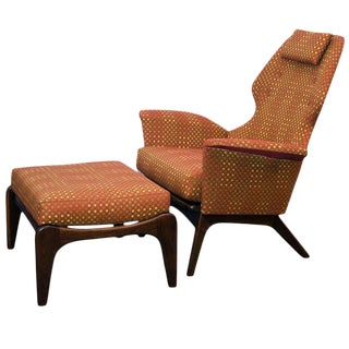 Mid Century Lounge Chair and Ottoman, Adrian Pearsall For Sale