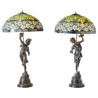 Vintage Mid Century Metal Figure Lamps- A Pair For Sale