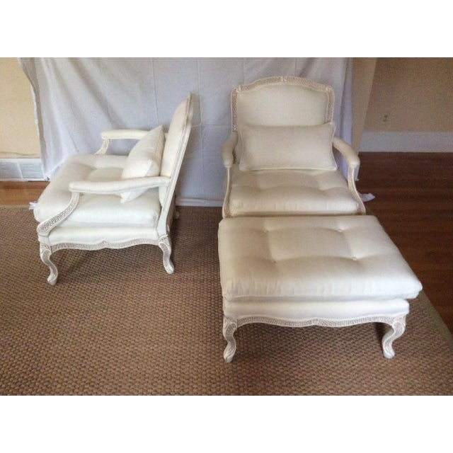 Bergere Chairs With Ottoman - Set of 3 - Image 3 of 11