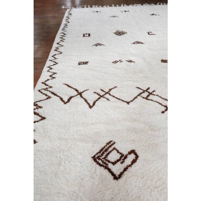 """Symbol"" White Moroccan Berber Rug With Brown Tribal Symbols - 8'7"" X 5'2"" For Sale - Image 9 of 13"