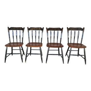 L. Hitchcock Black Harvest Arrow Back Side Chairs - Set of 4