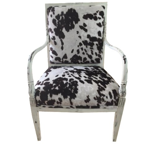 Faux Cowhide Armchair - Image 1 of 5