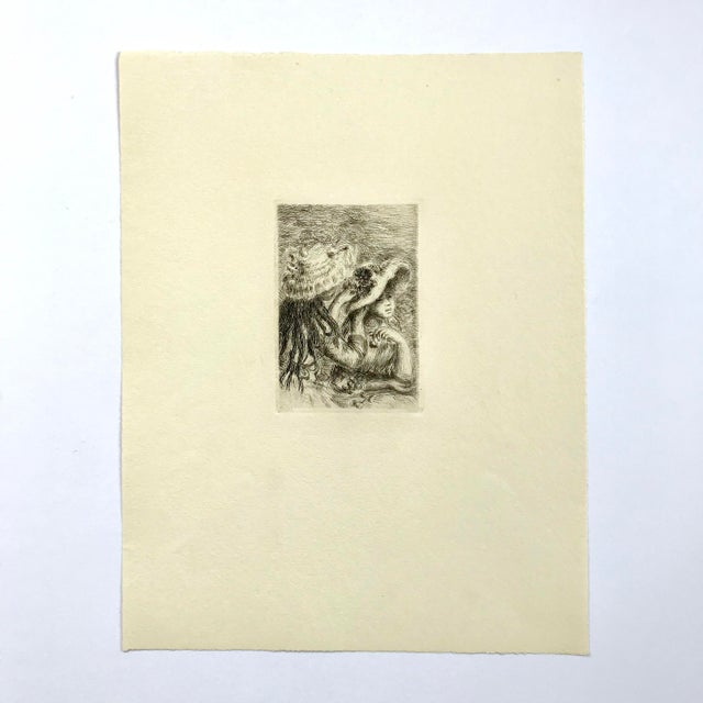 """Original limited edition Pierre Augusta Renior etching signed in plate. Sheet size approximately 10""""x 12.75"""". Originally..."""
