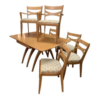 Vintage Mid Century Modern Heywood Wakefield Wishbone Dining Set - 7 Pieces For Sale