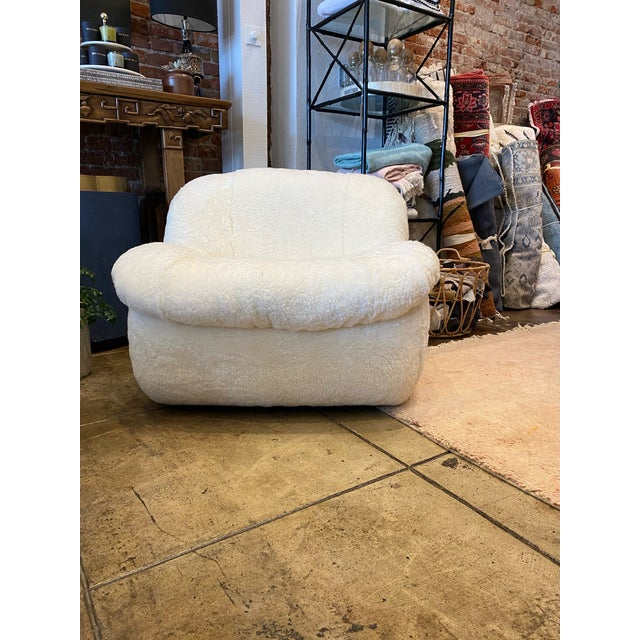 1970s 1970's Reupholstered Curly Shearling Swivel Chair - 2 Available For Sale - Image 5 of 11