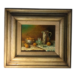 1950s Vintage Still Life Oil on Board Oil Painting For Sale