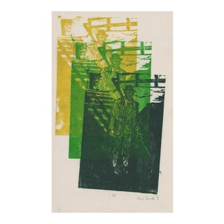 1970s Modern Woodblock Print by Janet Smith For Sale
