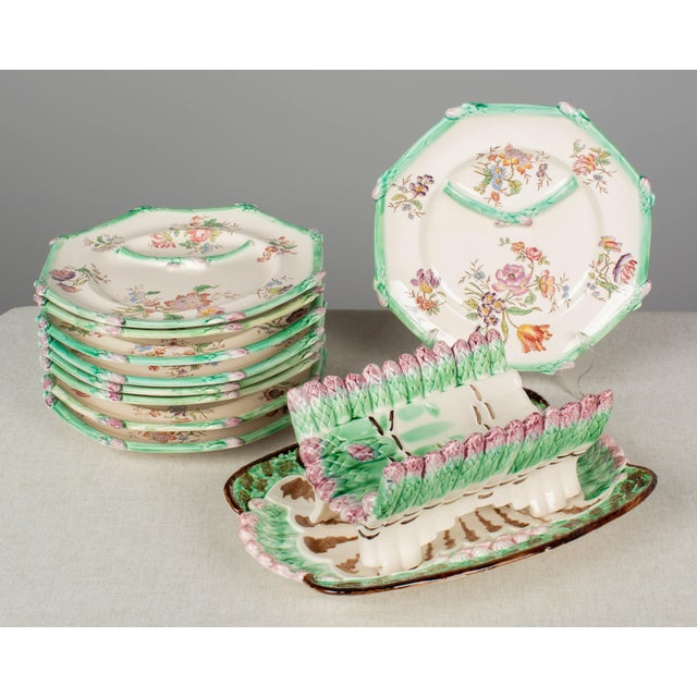 Longchamp French Majolica Asparagus Plates and Serving Set For Sale - Image 13 of 13