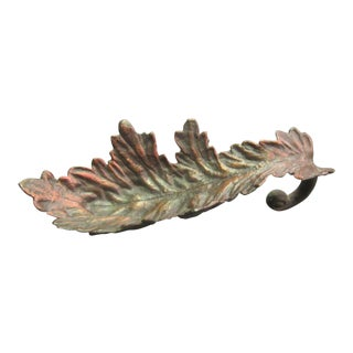 Vintage Cast Copper Tinted Oak Leaf Bowl For Sale