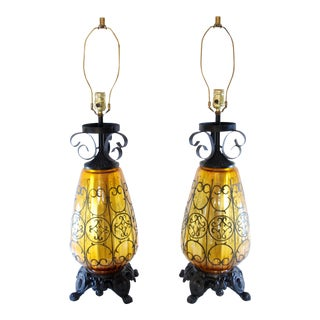 Mid-Century Spanish Style Wrought Iron Amber Glass Lamps - A Pair