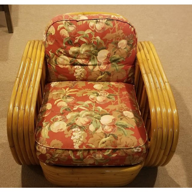 Art Deco Mid-Century Vintage Paul Frankl Style Bamboo Rattan Lounge Chairs - a Pair For Sale - Image 3 of 11