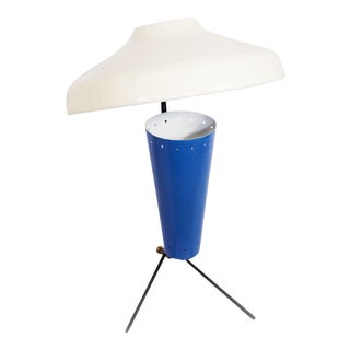 Vintage 1950s MCM Mid Century Modern Stilnovo Style Pierre Guariche Blue and White Space Age Table Lamp Experimental Functional Lighting Design