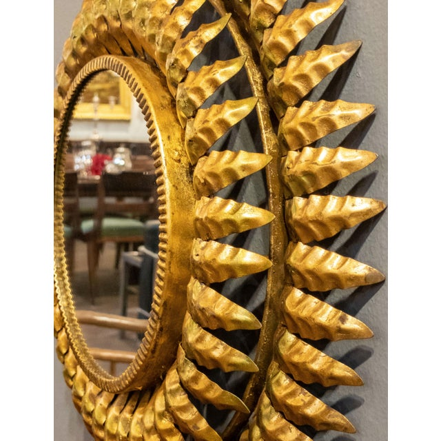 Mid 20th Century French Gilt Metal Sunburst Mirror For Sale - Image 5 of 13