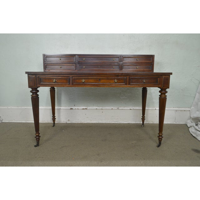 Drexel Heritage Covington Park Collection Regency Style Leather Top Mahogany Writing Desk (A) For Sale In Philadelphia - Image 6 of 13