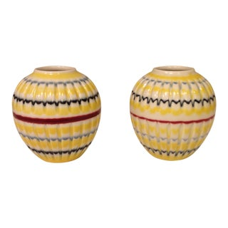 Two Whimsical Petite Round Striped Vases From Hornsea Pottery in England. For Sale