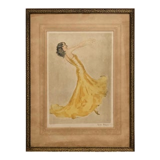 "Vintage Color Etching Titled ""Mexican Dancer"" by Vala Mora of Vienna For Sale"