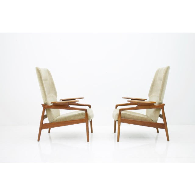Brown Pair of Reclining Teak Lounge Chairs by John Boné, Denmark 1960s For Sale - Image 8 of 11