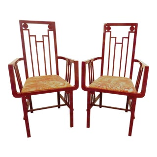 1970s Vintage Buying and Design Italy Red Lacquer Art Deco Armchairs - A Pair For Sale