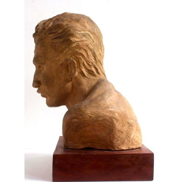 Portrait of an Athlete Clay Sculpture by A. Perelli For Sale In New York - Image 6 of 8