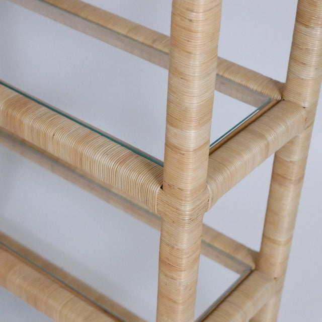 Midcentury Regency Rattan Cane and Glass Shelving Units - a Pair For Sale In New York - Image 6 of 11
