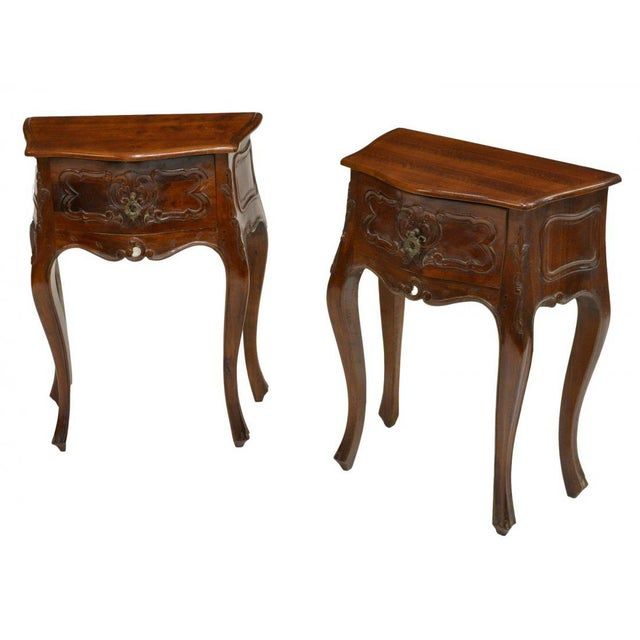 Petite Louis XV Style Carved Cherrywood Bedside Tables - a Pair For Sale - Image 9 of 9
