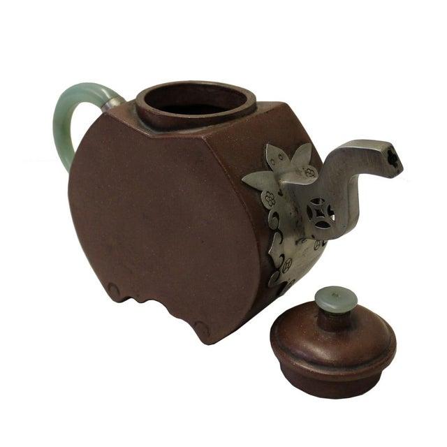 Chinese Zisha Jade Stone Handle Teapot Display Art For Sale - Image 4 of 6